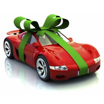 A gift wrapped sports car as a present. 3D rendering with raytraced textures and hdri lighting.